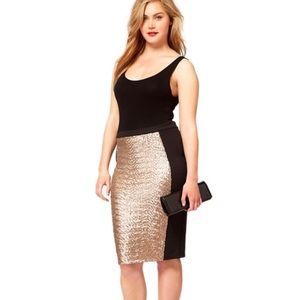 Asos Curve Metalic Pencil Skirt with Gold Sequins